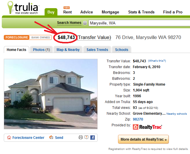 Trulia RealtyTrac Listing Screen Shot (Marysville Home for Sale)